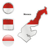 Monaco in map and web buttons shapes — Stock Vector