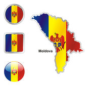 Moldova in map and web buttons shapes — Stock Vector