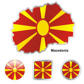 Macedonia in map and web buttons shapes — Stock Vector