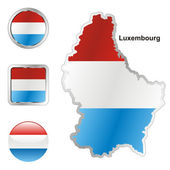 Luxembourg in map and web buttons shapes — Stock Vector