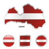 Letonya haritası ve web düğme şekilleri — Stok Vektör