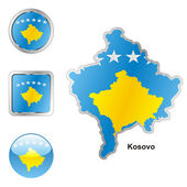 Kosovo in map and web buttons shapes — Stock Vector