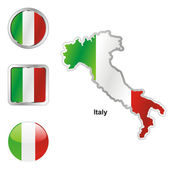 Italy in map and web buttons shapes — Stock Vector