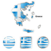 Greece in map and web buttons shapes — Stock Vector