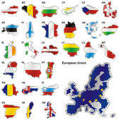 Flags of EU in map shapes — Vector de stock