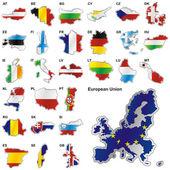 Vlajky eu v obrazců map — Stock vektor