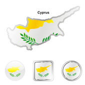 Cyprus in map and web buttons shapes — Stock Vector