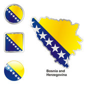 Bosnia and herzegovina map and buttons — Stock Vector