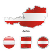 Austria in map and web buttons shapes — Stock Vector