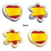 Spanien flagge in form von herzen und blumen — Stockvektor