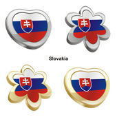 Slovakia flag in heart and flower shape — Stock Vector