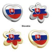 Slovakia flag in heart and flower shape — Stock Vector