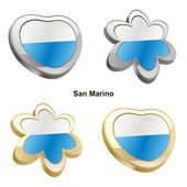 San marino flag in heart and flower shap — Stock Vector
