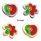 Portugal flag in heart and flower shape — Stock Vector