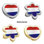 Netherlands flag in heart and flower sha — Stock Vector