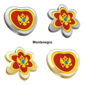 Montenegro flag in heart and flower shap — Stock Vector