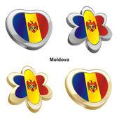 Moldova flag in heart and flower shape — Stock Vector