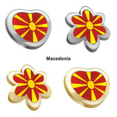 Macedonia flag in heart and flower shape — Stock Vector