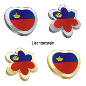 Liechtenstein flag in heart and flower s — Stock Vector