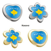Kosovo flag in heart and flower shape — Stock Vector