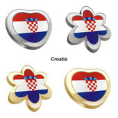 Croatia flag in heart and flower shape — Stock Vector