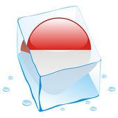 Monaco button flag frozen in ice cube — Stock Vector