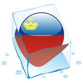 Liechtenstein button flag frozen in ice — Stock Vector