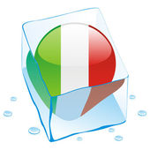 Italy button flag frozen in ice cube — Stock Vector