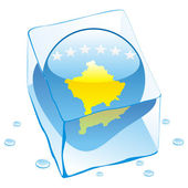 Kosovo button flag frozen in ice cube — 图库矢量图片