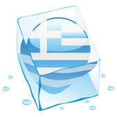 Greece button flag frozen in ice cube — Stock Vector