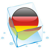 Germany button flag frozen in ice cube — Stock Vector