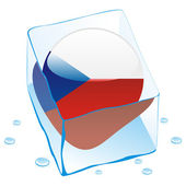 Czech button flag frozen in ice cube — Stock Vector