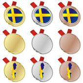 Sweden vector flag in medal shapes — Vector de stock