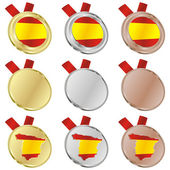Spain vector flag in medal shapes — Stock vektor