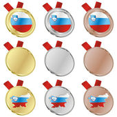 Slovenia vector flag in medal shapes — Stockvektor