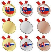 Slovensko vektor vlajka ve tvarech medaile — Stock vektor