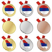 Serbia vector flag in medal shapes — Stock Vector