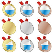 San marino vector flag in medal shapes — Vettoriale Stock