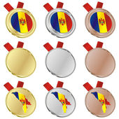 Moldova vector flag in medal shapes — Stock Vector