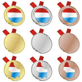 Luxembourg vector flag in medal shapes — Stock Vector