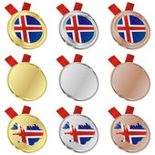 Iceland vector flag in medal shapes — Stock Vector