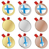 Finland vector flag in medal shapes — Stockvektor
