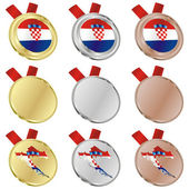 Croatia vector flag in medal shapes — Stockvektor