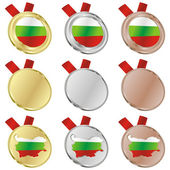 Bulgaria vector flag in medal shapes — Stok Vektör