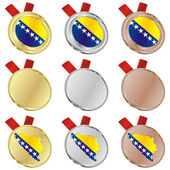 Bosnia and Herzegovina flag medals — Stock Vector