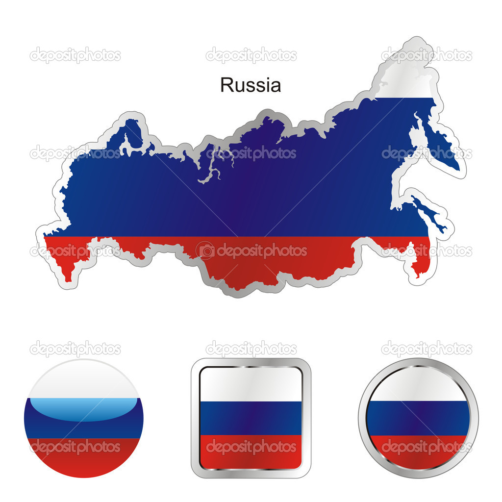 Fully editable flag of russia in map and internet buttons shape — Stock Vector #3003960