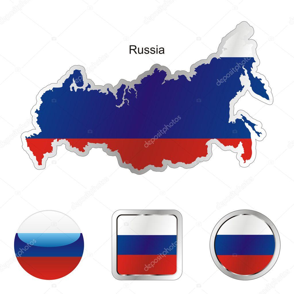 俄罗斯地图和互联网的按钮形状中的完全可编辑国旗
