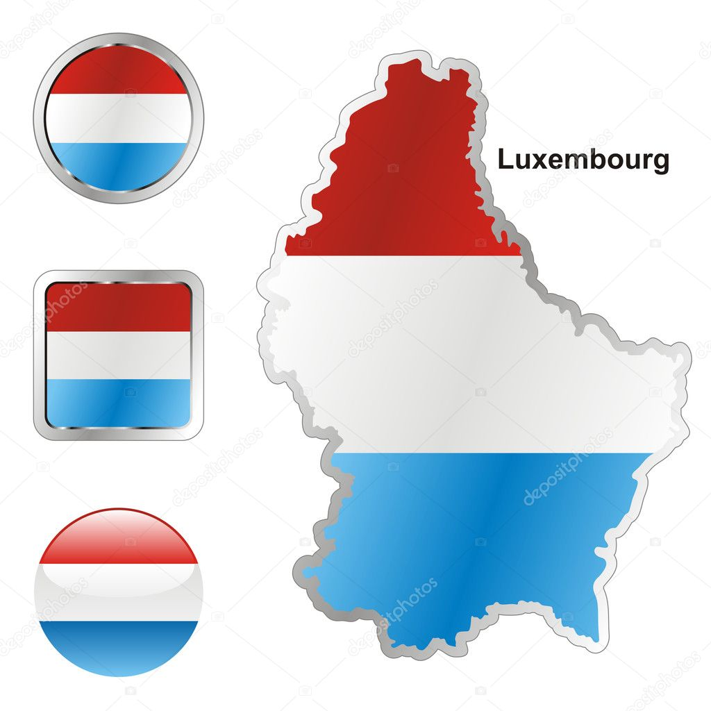 Fully editable vector flag of luxembourg in map and web buttons shapes   Stock Vector #3009061