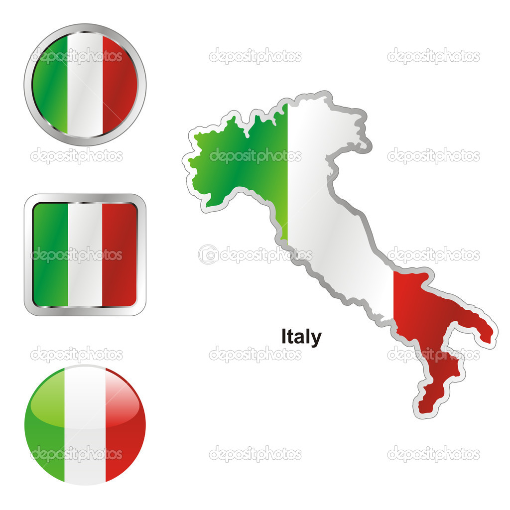 Fully editable vector flag of italy in map and web buttons shapes  — Stock Vector #3009077
