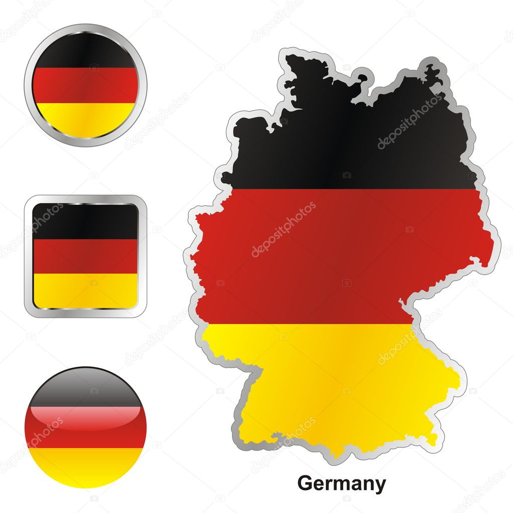 Fully editable vector flag of germany in map and web buttons shapes   Stock Vector #3009089